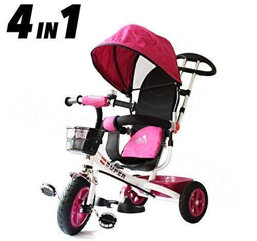 All Road Trikes Kinder 4 in 1 Trike - Weiß& Rosa - Vorantreiben Pedale Kinder Dreirad