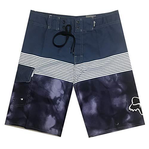 Shadow Pantalones Cortos Deporte Hombre Pantalones Cortos Grises de Playa de Secado rápido a Rayas Pantalones Europeos Sueltos Pantalones Deportivos Grandes Casuales 32