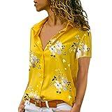 Xmiral Camicetta Pullover Top Camicia Donna Taglie Forti Stampa Scollo a V Bottone Stampato (3XL,2- Giallo)
