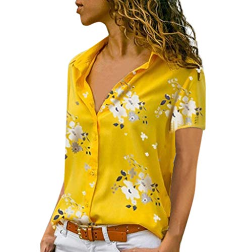 MOMOXI Tops/Camiseta/Blusa para Mujer, Mujeres Casual Manga Corta Suelta Manga Corta Cuello Bolsillos Botones Camisa Tops