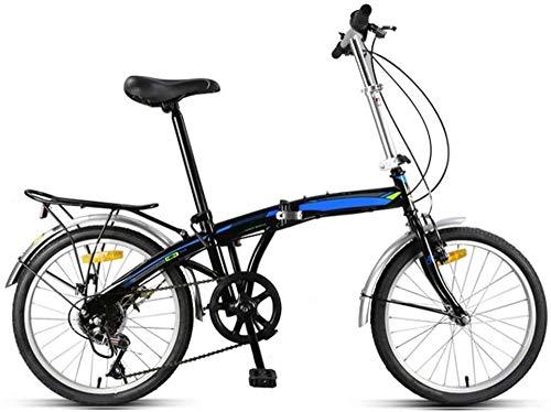 Bicicleta plegable de 20 en 7 velocidades, para ciudad, con soporte trasero ligero, con freno en V