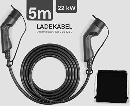 Greenewable Elektroauto Ladekabel Typ 2 22kW |mit Tasche| 5m | 32a |3 Phasig |typ 2 ladekabel 22kW Elektro Auto ladekabel typ2 32a TÜV & CE Zertifitiert für Zoe,FORTWO,Id 3,kona | typ 2 zu typ2