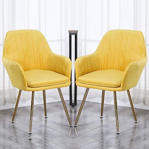 zyy Juego de 2 sillas de cocina con patas de metal robustas, sillas de comedor, sillas de recepción con respaldo y asiento acolchado para sillas de restaurante y sala de reuniones (color amarillo)