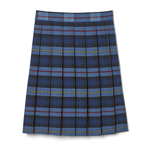 French Toast Big Girls' Plaid Pleated Skirt, Blue/Red, 7