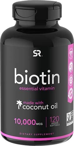 Biotin (10,000mcg) with Organic Coconut Oil | May Help Support Healthy Hair, Skin & Nails | Non-GMO Verified & Vegan Certified (120 Veggie-Softgels)