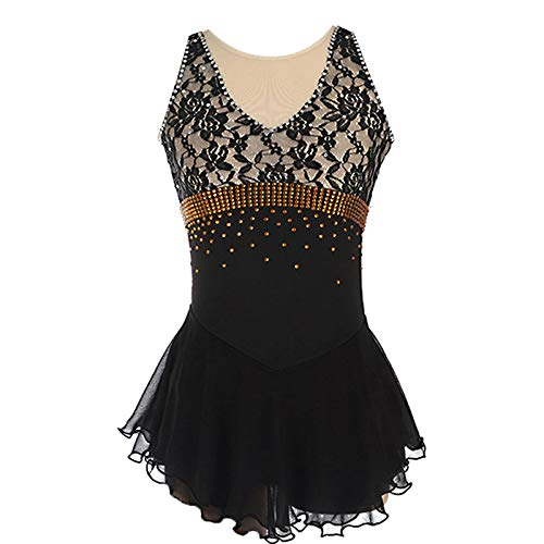 Kmgjc Skating-Kleid für Mädchen, handgemachte Spitze Eiskunstlauf-Wettbewerb Damen-Kostüm Ärmel schwarz Eislauf-Kleid Strassapplikationen,Schwarz,S