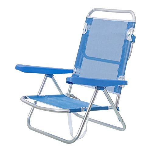 Monty LOLAhome Silla con Brazos para Playa Pop de Aluminio Azul Garden, 80 x 61 x 47 cm