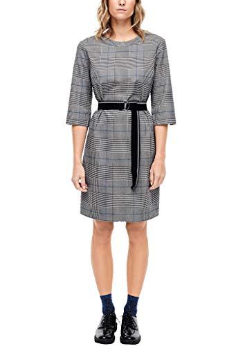 s.Oliver Damen Kariertes Kleid mit Elastik-Gürtel Grey Glencheck 46