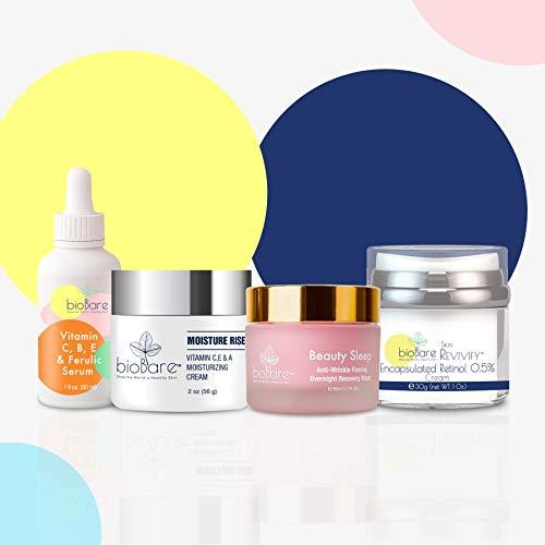 Biobare The Dream Team Day + Night Skin Care Set - AM/PM Essentials Day Cream, Night Cream, Moisturizer, Vitamin C Serum Face Kit