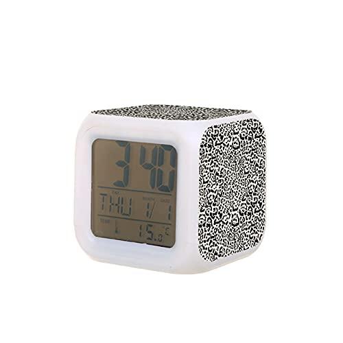 Reloj despertador unisex para adultos y niños, diseño de Jaguar, con estampado de Greige, creativo, de escritorio, electrónico, colorido y digital, para dormitorio, regalo de cumpleaños