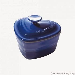 Le Creuset Stoneware Heart Ramekin with Lid Cover Cobalt Blue