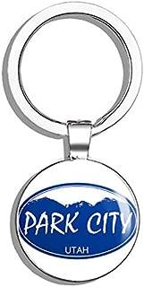 PRS Vinyl Blue Oval Park City Utah - Snowboard ski Skiing Snow Resort ut Double Sided Stainless Steel Keychain Key Ring Chain Holder Car/Key Finder