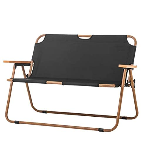 Outdoor-Freizeit-Doppel Klappstuhl Tragbarer Ultra Camping Picknick Strand Stuhl 2 Person Holzmaserung Nap Stuhl,Schwarz