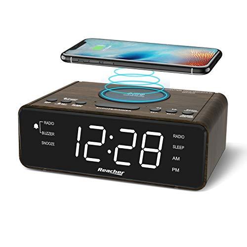 REACHER Wooden Digital Alarm Clock Radio with Wireless Charging