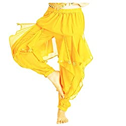 Yellow Tribal Arabic Halloween Pants with Gold Trim