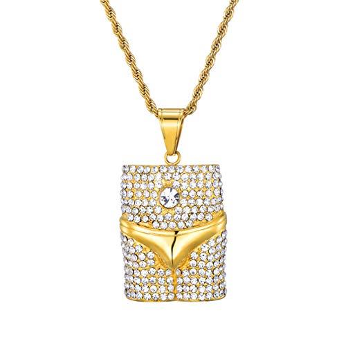BAJIE, collar con colgante para hombre, diamantes de imitación completos, brillantes, helados, estilo de ropa interior sexy, collar de acero inoxidable 316L, collares y colgantes para hombres, joyería