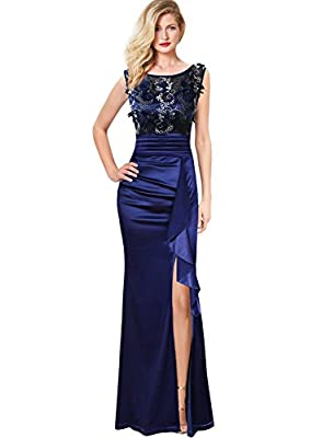 VFSHOW Womens Formal Ruched Ruffles Embroidered Evening Wedding Maxi Dress 290 BLU S