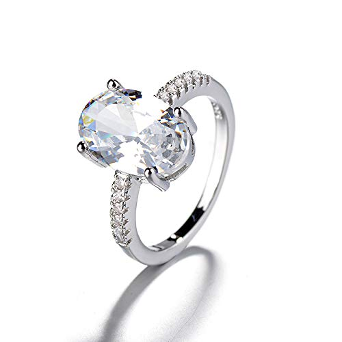 Propuesta De Compromiso Anillo De Diamante De Huevo De Ganso Pulsera De Anillo De Oro Blanco Galvanizado De 18 K