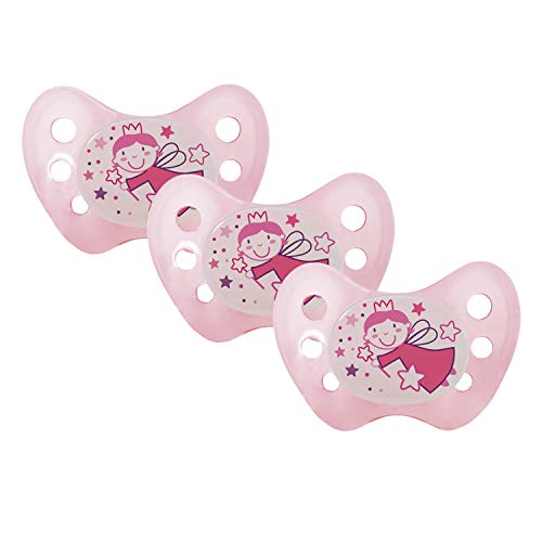 Dentistar® Night Silikon-Schnuller - Größe 1, von Geburt an, 0-6 Monate - Nacht-Leuchtschnuller, Nuckel leuchtend, für neugeborene Babys, Fee rosa- 3 Stück