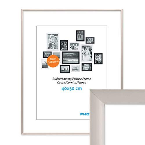 PHOTOLINI Alu-Bilderrahmen 40x50 cm Modern Silber Aluminium-Posterrahmen mit Acrylglas