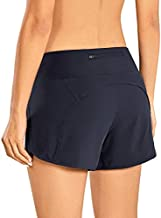 CRZ YOGA Women's Quick-Dry Athletic Sports Running Workout Shorts with Zip Pocket - 4 Inches Navy 4''-R403 Medium