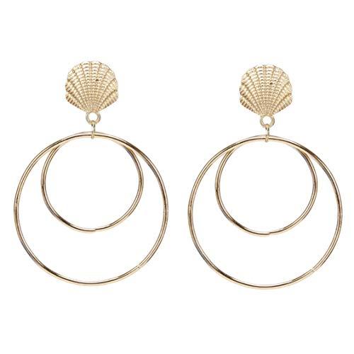 Idiytip Doppelte Creolen Geometrische Hohle Runde Kreis Muschel Ohrringe Ohrstecker Schmuck für Frauen(Gold)