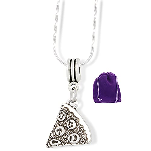 Pizza Necklace | Piece of Pepperoni Pizza Charm Snake Chain Necklace
