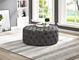 Best Master Furniture Sherlyn Tufted Round Ottoman/Footstool, Gray