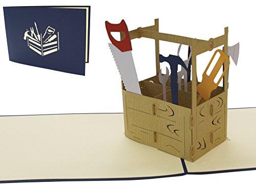 LIN17498, POP- UP Karten Technik, POP UP Karten Geburtstag, 3D Grußkarten Geburtstagskarte Klappkarte Karte Vatertag Gutschein Geschenk, Werkzeugkoffer, N271