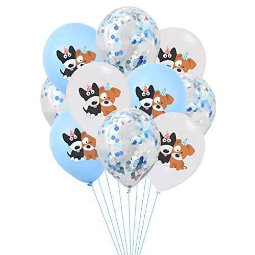 DreamJing Bauernhof Hund Geburtstag Set, Blau Konfetti Ballons & Hunde Thema Luftballons 12 Zoll Hunde Geburtstag Deko Tier Party Deko Luftballons Dekoration Zubehör, 10 Stücke
