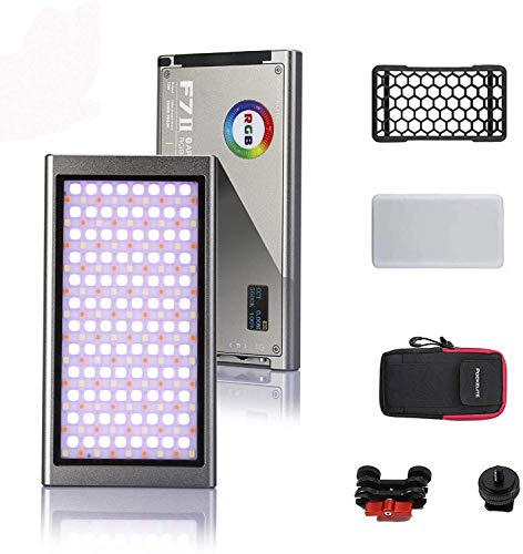Falconeyes F7II - Linterna LED RGB (CRI 97, 2500-9000 K, regulable, 0-100% regulación continua, pantalla OLED, modo multiescenario, batería integrada, aplicación para Vlog, YouTube, vídeo en vivo)