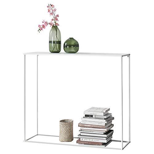 [en.casa] Tavolo a Consolle da Ingresso/Soggiorno/Corridoio 95 x 110 x 32 cm Mobile di Appoggio in Metallo - Bianco