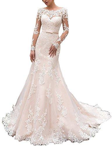 Nanger Damen Lange Ärmel Hochzeitskleider Meerjungfrau mit Applikationen Brautkleider Weiß 38