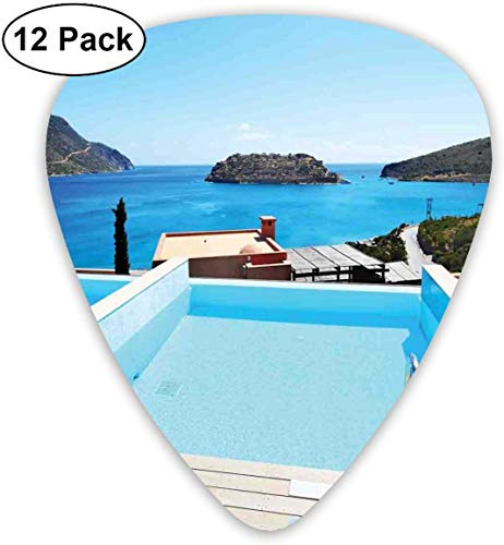 Gitarren-Plektren - 12er Pack, Swimming Pool Hotel mit Blick auf die Insel Kreta, Griechenland, Terrasse, türkisfarbenes Meer, für E-Bass, akustische Gitarre