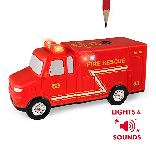 Amazeko Electric Pencil Sharpener with Fire Rescue Lights and Sounds for Kids. Includes Carbon Steel, Batteries, Electronic Sharpener, and Pencil. Perfect for Back To School, Birthdays, and Holidays