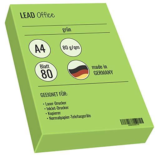 Druckerpapier farbig, Kopierpapier, Bastelpapier: 80g/qm, A4 80 Blatt, matt, grün