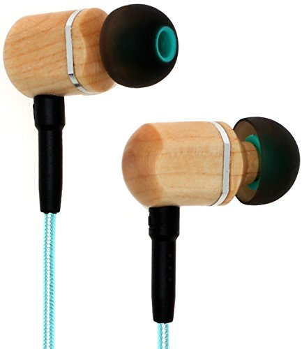 Symphonized MTRX 2.0 Premium Genuine Wood In-ear Noise-isolating Headphones, Earbuds, Earphones with Innovative Shield Technology Cable, Mic And Volume Control (Turquoise)