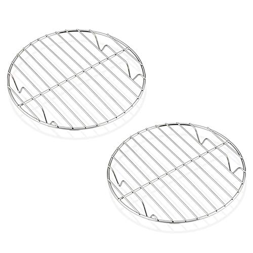 7½ Inch Steaming Cooking Racks, E-far Stainless Steel Round Baking Cooling Rack Set of 2, Multi-Purpose for Canning Air Fryer Pressure Cooker, Dishwasher Safe