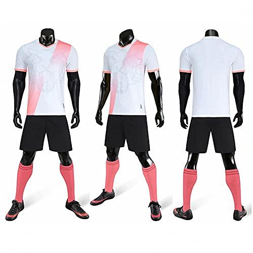 AGLT 2021 Copa Mundial Football Jersey Set,Hombres Copa de Europa Jersey,Child Verano Football Formación T-Shirts,Mujer Deportes Shorts,White,XXL