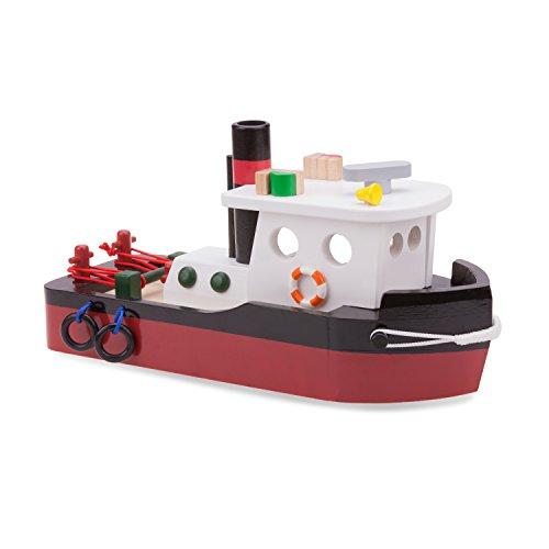 New Classic Toys Bateau Remorqueur Jouet en Bois pour Enfant