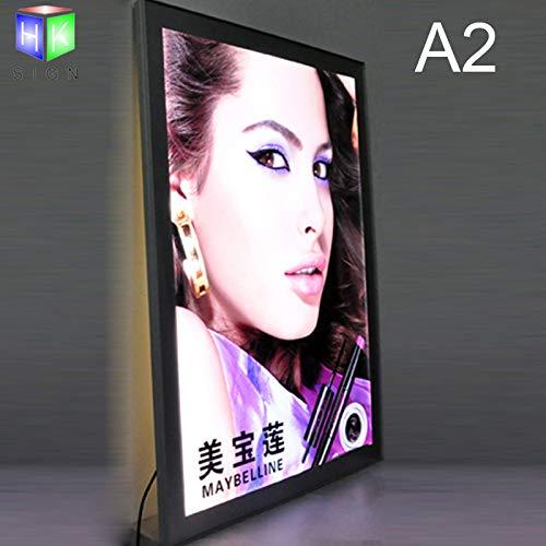 Marco de fotos magnético de aluminio para montaje en la pared, caja de luz LED para menú, tablón de restaurante, comida rápida (A2 (634 mm x 460 mm)