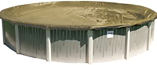 Buffalo Blizzard Supreme Plus Winter Cover for 24-Foot Round Above-Ground Swimming Pools | Tan/Silver Reversible | 4-Foot Additional Material for Secure Installation