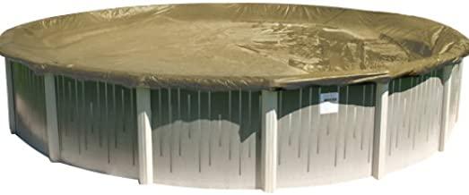 Buffalo Blizzard Supreme Plus Winter Cover for 28-Foot Round Above-Ground Swimming Pools | Tan/Silver Reversible | 4-Foot Additional Material for Secure Installation