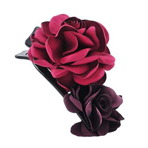 Mesdames Elegant Handmade cheveux clip Clip Clip de la fleur, Vin rouge