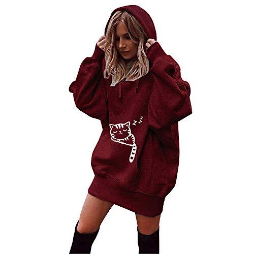 SuperSU Frauen Mode Einfarbig Kleidung Hoodies Mantel Hoody Damen Langarm Hoodie Stretch Sweatshirt Midi Kleider mit Taschen Mode Pullover Winterkleider Kleid Hip Hop Strickkleider (L, Rot)