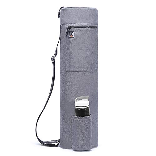 ELENTURE Waterproof Yoga Mat Carry Bag with Storage Pockets and Water Bottle Holder