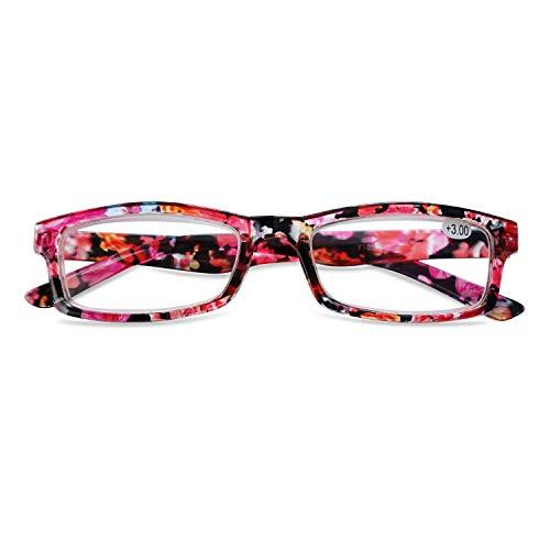 KOOSUFA Lesebrille Damen Blumen Qualität Rechteckige Anti Müdigkeit Brille Lesehilfe Sehhilfe Retro Designer Mode Vollrandbrille mit Stärke 1.0 1.5 2.0 2.5 3.0 3.5 4.0 (Rot, 4.0)