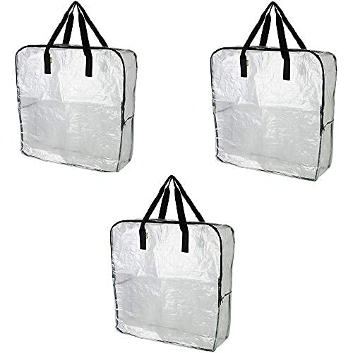 IKEA DIMPA 3 pieces extra large storage bag, clear heavy pockets, moth and moisture protection storage pockets.