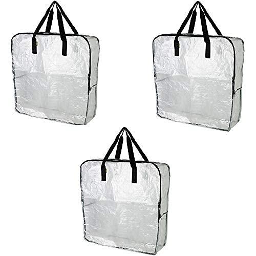 IKEA DIMPA 3 bolsas de almacenamiento extragrandes, transparentes y resistentes, para protección contra la humedad