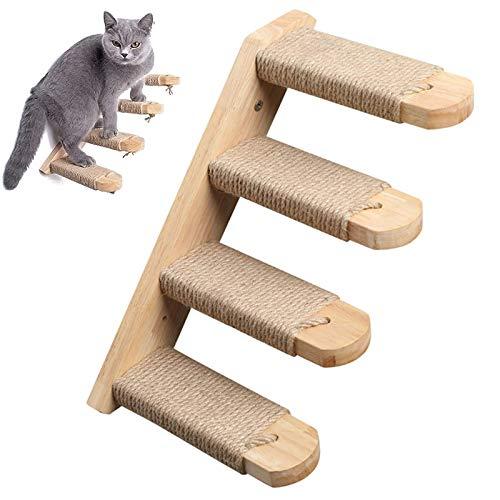 PJDDP Katzenleiter Katzentreppe Katzenstufentreppe Katzenkletterleiter Kletterwand Katzen Haustier-Katzen-Wandhalterung Katzenleiter Vergnügungsmöbel, Hölzernes Sprungbrett-Treppenspielzeug,Right